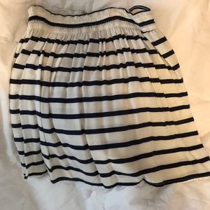 Cotton navy striped skirt